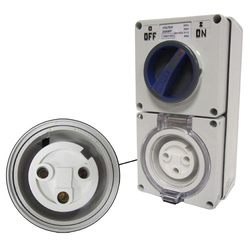 Voltex Switched Socket Outlets - IP56 250V 20A - 3 Round pins