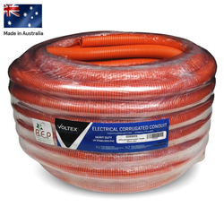 Heavy Duty Orange Corrugated Conduit 32mm x 25m Roll