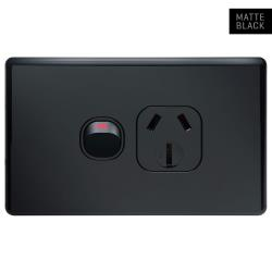 Classic Black Single Power Outlet 250V 15A