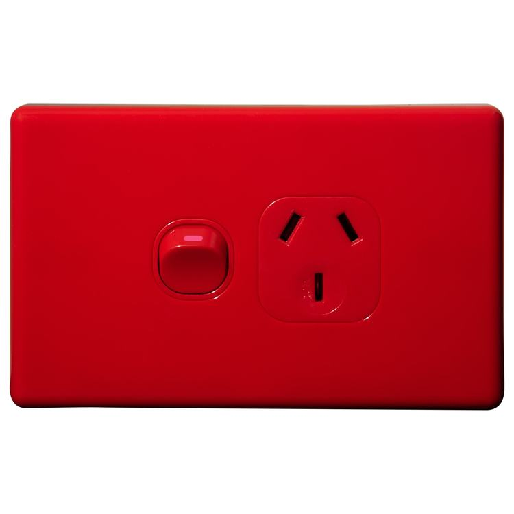 Voltex Classic Red Single Power Outlet 250V 10A