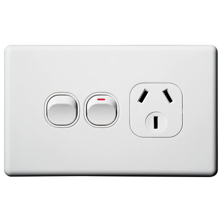 Voltex Classic Single Power Outlet with Extra Switch 250V 10A