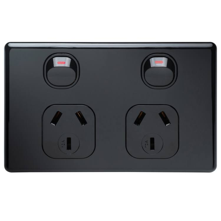 Voltex Classic Black Double Power Outlet 250V 10A