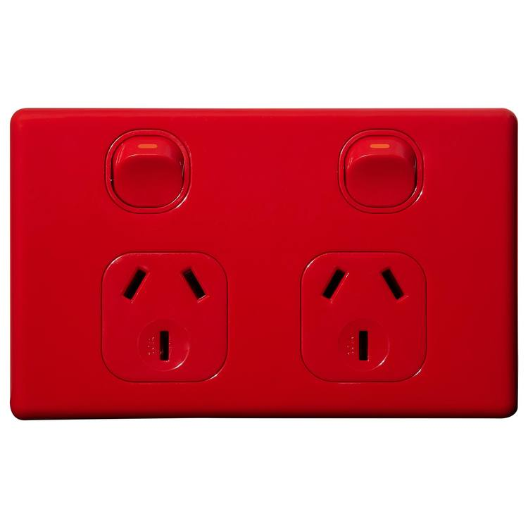 Voltex Classic Red Double Power Outlet 250V 10A