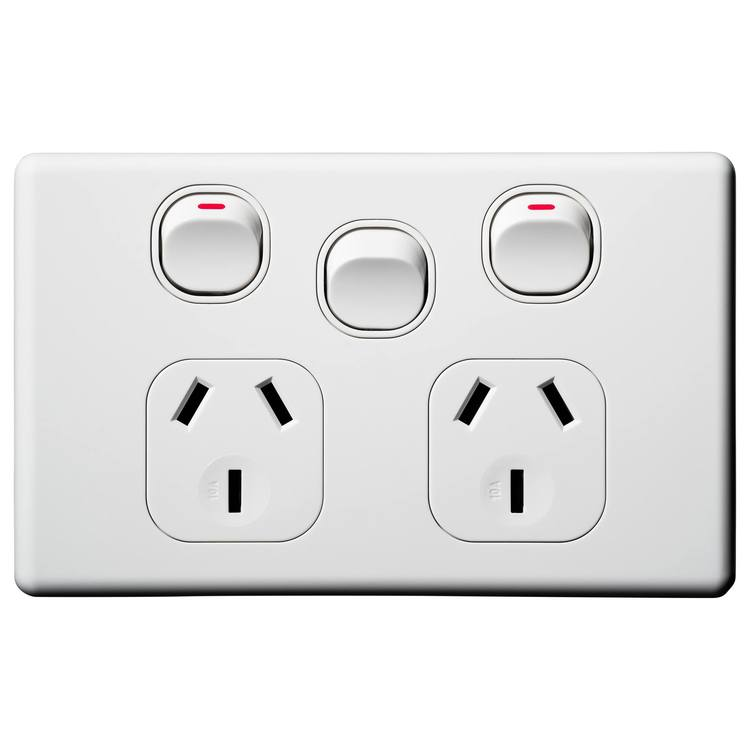 Voltex Classic Double Power Outlet with Extra Switch 250V 10A