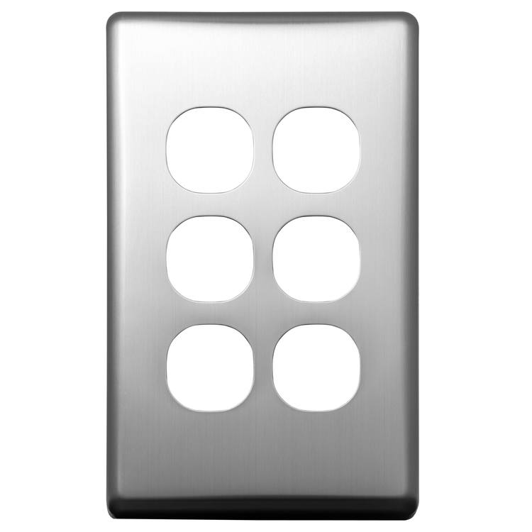 Voltex Classic Stainless Steel Cover Plate for 6 Gang Switch (white switch only)