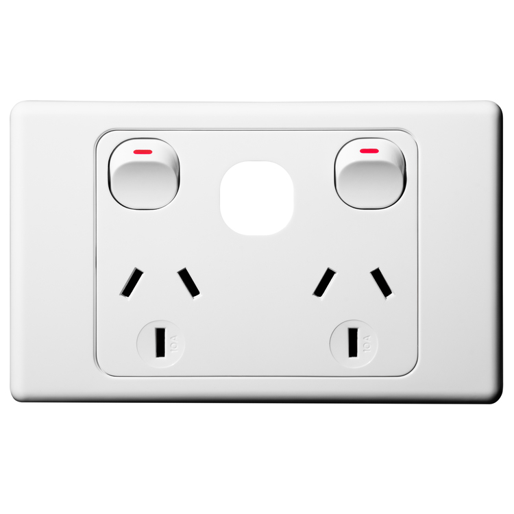 Voltex Original Double Power Outlet 250 10A with Extra Switch Provision