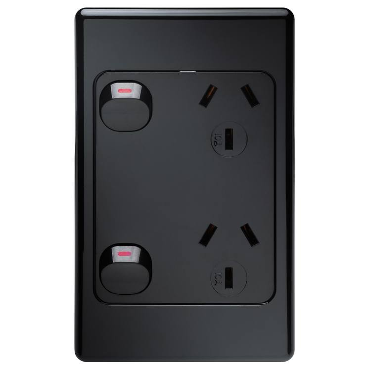 Voltex Original Vertical Black Double Power Outlet 250V 10A