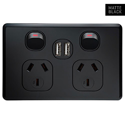 Voltex Shadowline Black Double Power Outlet 250V~ 10A & 2 x 2.1 A USB Outlets