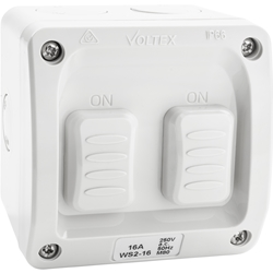 Voltex Weatherproof Double Switch 2-Way 1P 16A - IP66