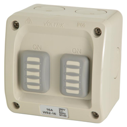 Voltex Weatherproof Double Switch 1P 16A - IP66