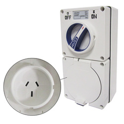 Voltex Switched Socket Outlets - IP56 250V 10A - 3 Flat pins - Chemical Resistant White