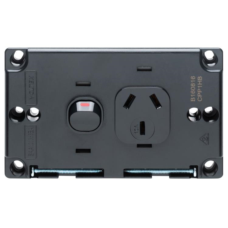 Voltex Classic Black Single Power Outlet 250V 10A