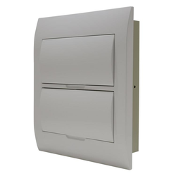 White Door Flush Mounting Switchboard - 24 way - Metal Back