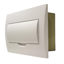 White Door Flush Mounting Switchboard - 12 way - Metal Back